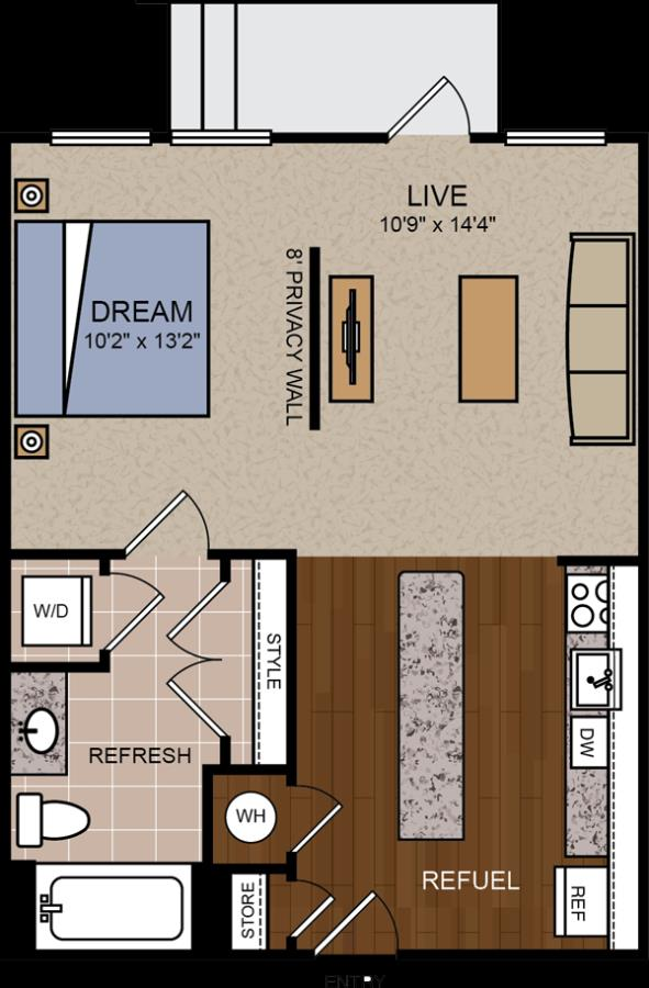 616 sq. ft. E2 floor plan