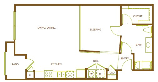 840 sq. ft. A12 floor plan