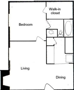 570 sq. ft. A floor plan