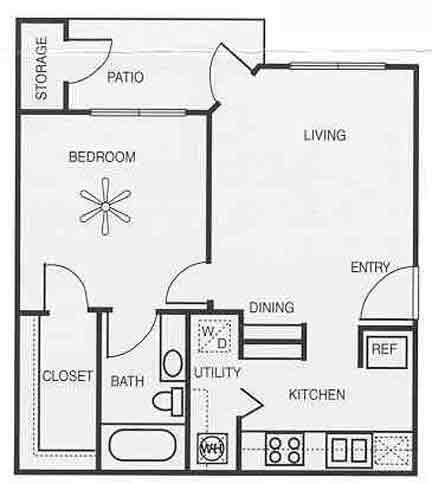 604 sq. ft. A1B/Willow floor plan