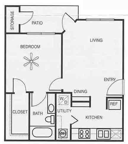 604 sq. ft. A1B/Willow floor plan