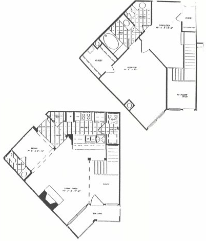1,170 sq. ft. T9 floor plan
