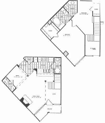 1,170 sq. ft. T9 floor plan