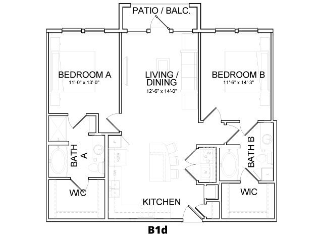 1,068 sq. ft. B1B floor plan