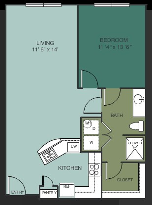 834 sq. ft. A9 floor plan