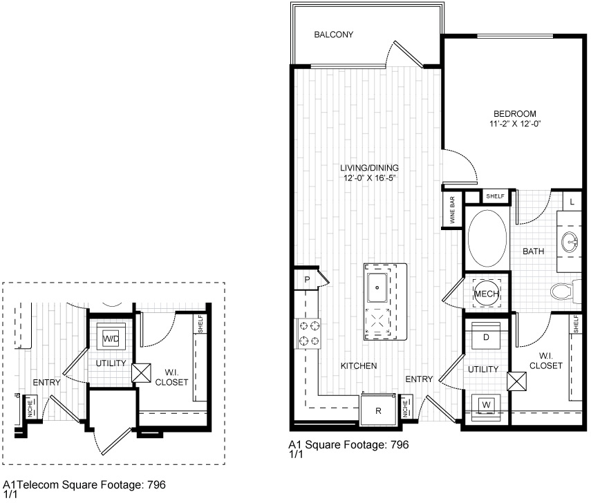 796 sq. ft. A1 floor plan
