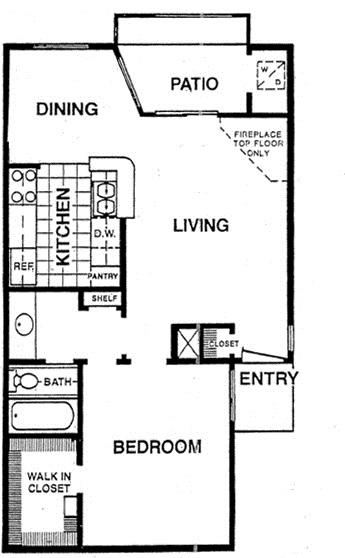 654 sq. ft. A2 floor plan
