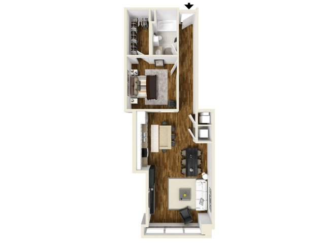 895 sq. ft. Mockingbird floor plan