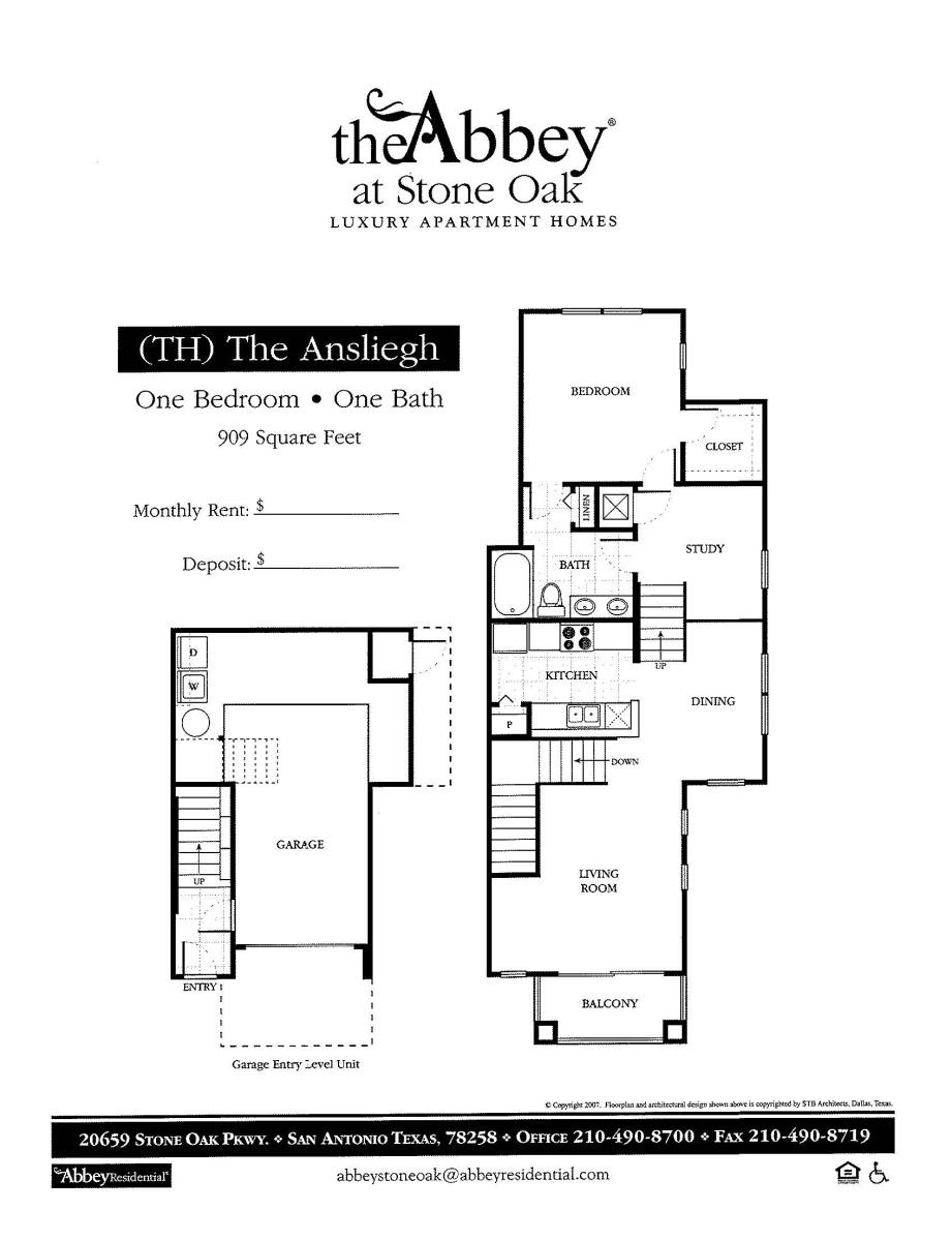 909 sq. ft. Ansleigh floor plan