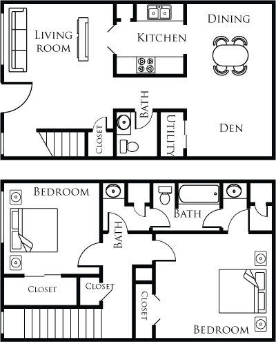 1,116 sq. ft. 21B floor plan
