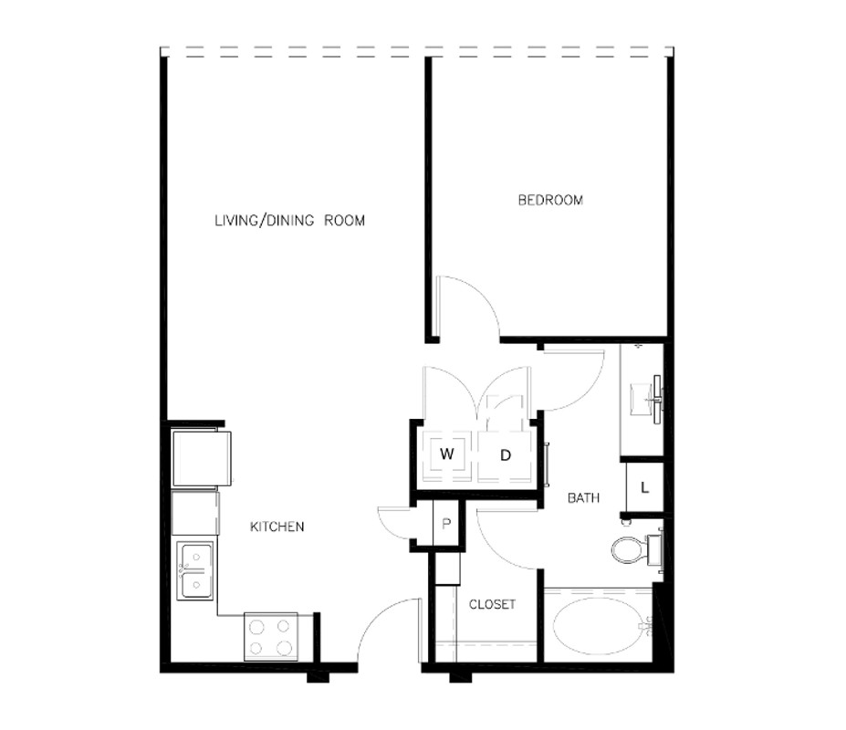 702 sq. ft. to 714 sq. ft. A1-C2 floor plan