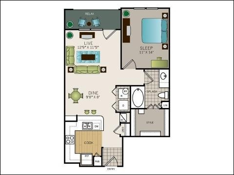 783 sq. ft. Vanderbilt floor plan