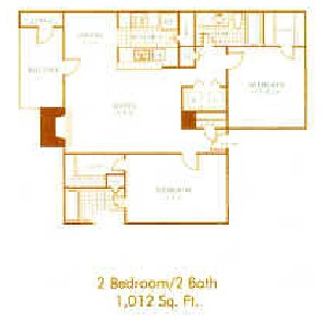 1,012 sq. ft. B4 floor plan