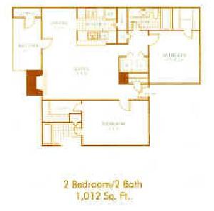 1,012 sq. ft. B4 floor plan