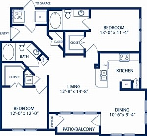 1,154 sq. ft. Pine floor plan