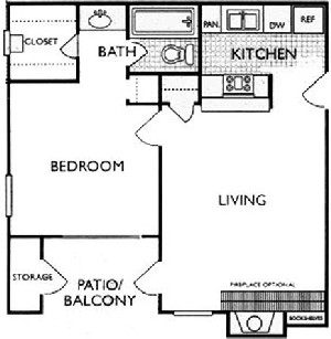 572 sq. ft. A2 floor plan