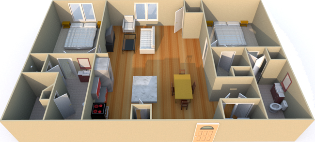 1,298 sq. ft. C2S floor plan