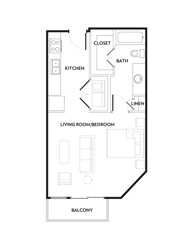 535 sq. ft. E3 floor plan