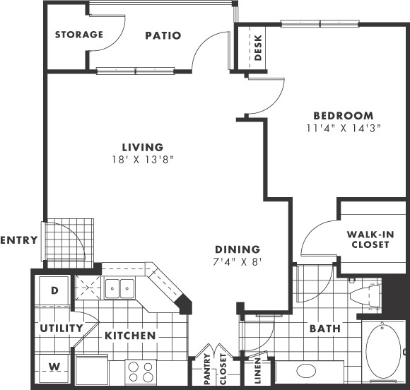 806 sq. ft. PH II floor plan