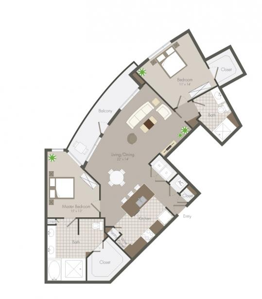 1,272 sq. ft. Parker floor plan