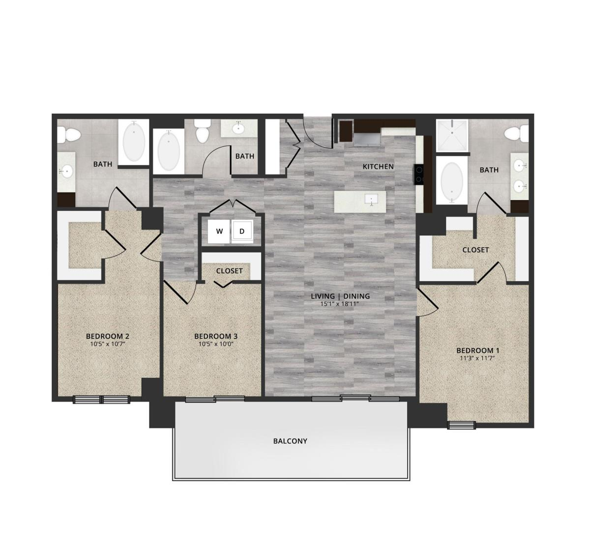 1,478 sq. ft. B2 floor plan