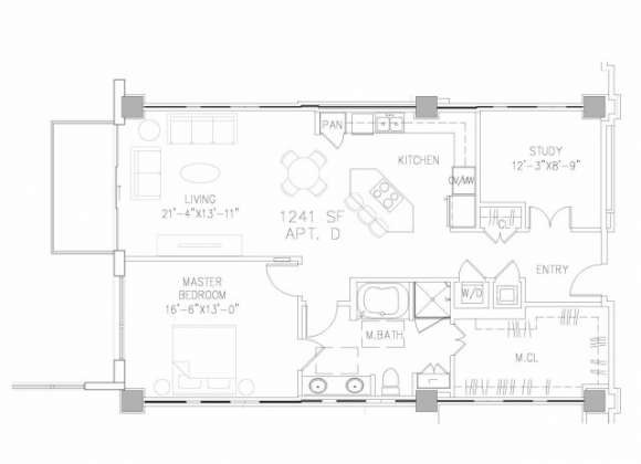 1,241 sq. ft. A9 floor plan