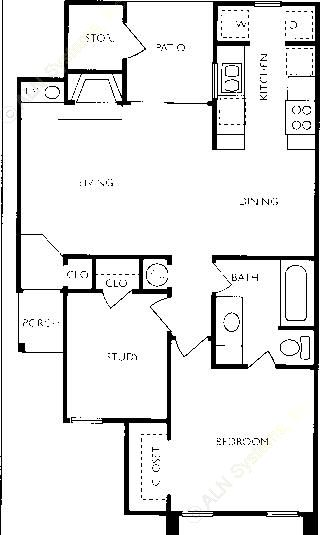 719 sq. ft. A1-FLAT floor plan