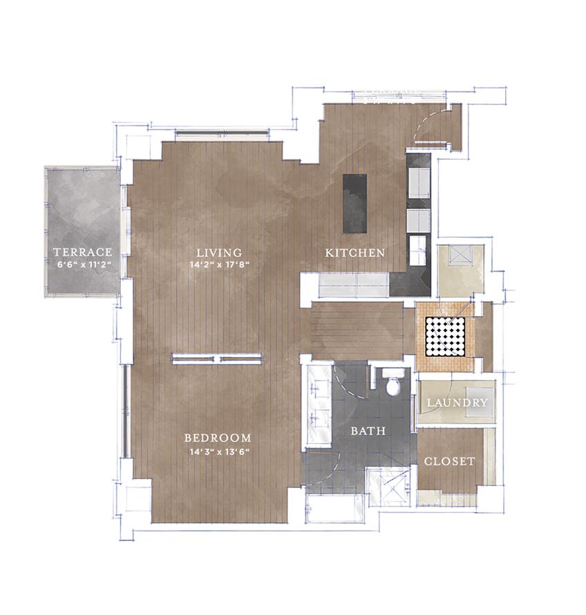 1,026 sq. ft. A2.3 floor plan