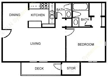 693 sq. ft. Executive I floor plan
