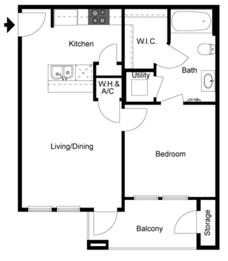 660 sq. ft. Aspen floor plan