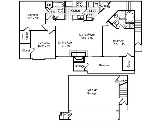 1,355 sq. ft. C1-GAR. floor plan