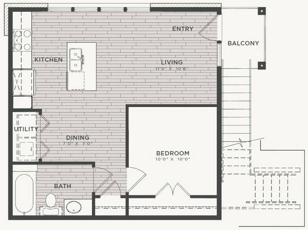 576 sq. ft. A1 floor plan