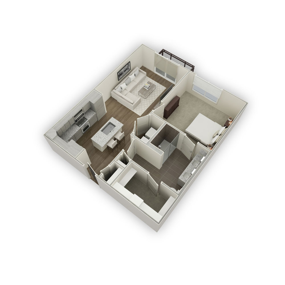 750 sq. ft. A2-1 floor plan