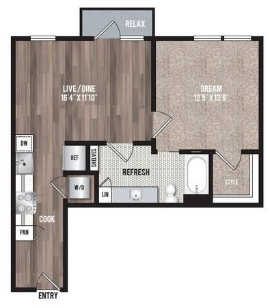 692 sq. ft. A3.2 floor plan