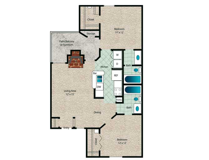 856 sq. ft. to 921 sq. ft. Sycamore floor plan