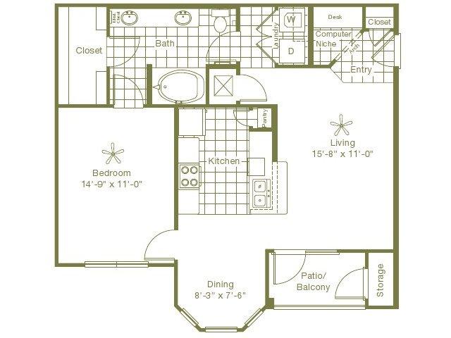 841 sq. ft. Newberry floor plan