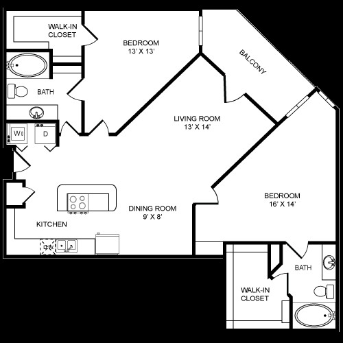 1,405 sq. ft. 2x2L floor plan
