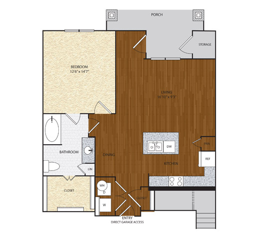 849 sq. ft. A3.2 floor plan