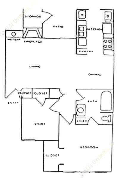 719 sq. ft. D floor plan