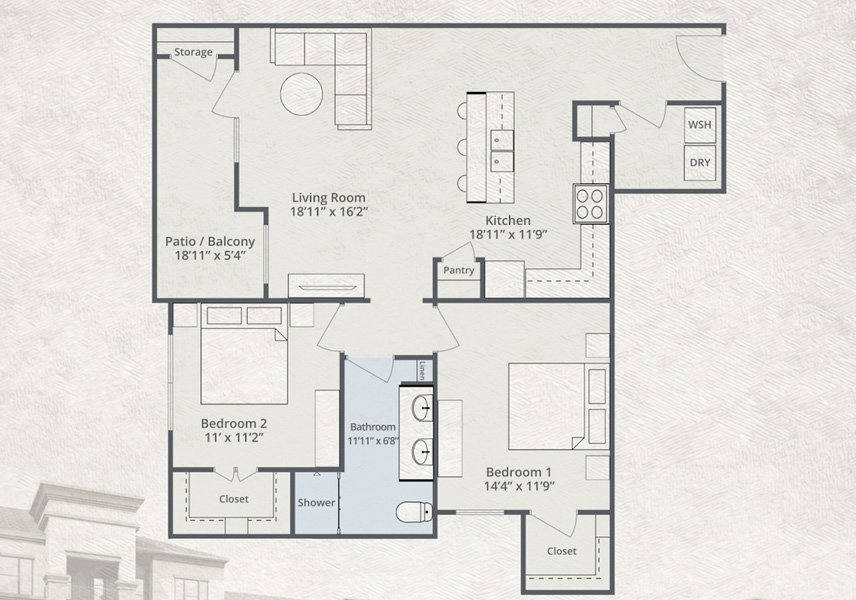 1,152 sq. ft. Pel Air floor plan