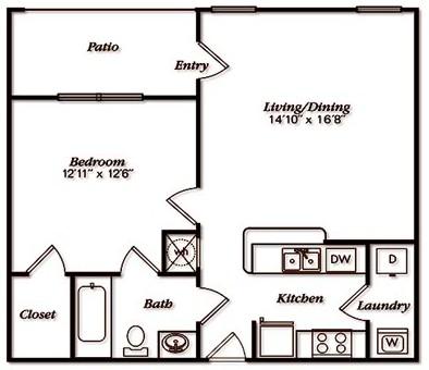 667 sq. ft. A1LGar floor plan