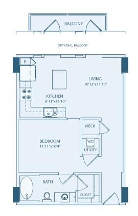 617 sq. ft. A1 floor plan