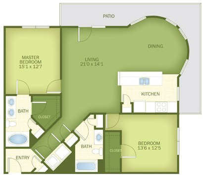 1,252 sq. ft. Grayton floor plan