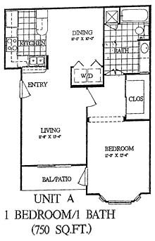 750 sq. ft. Aspen floor plan