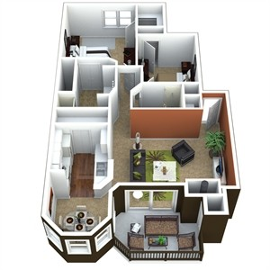 1,011 sq. ft. 2A floor plan