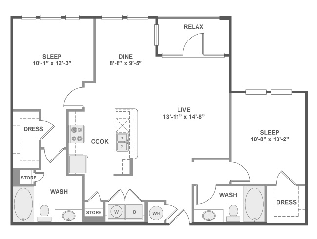1,131 sq. ft. C5 floor plan