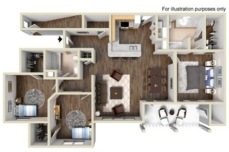 1,378 sq. ft. C1 floor plan