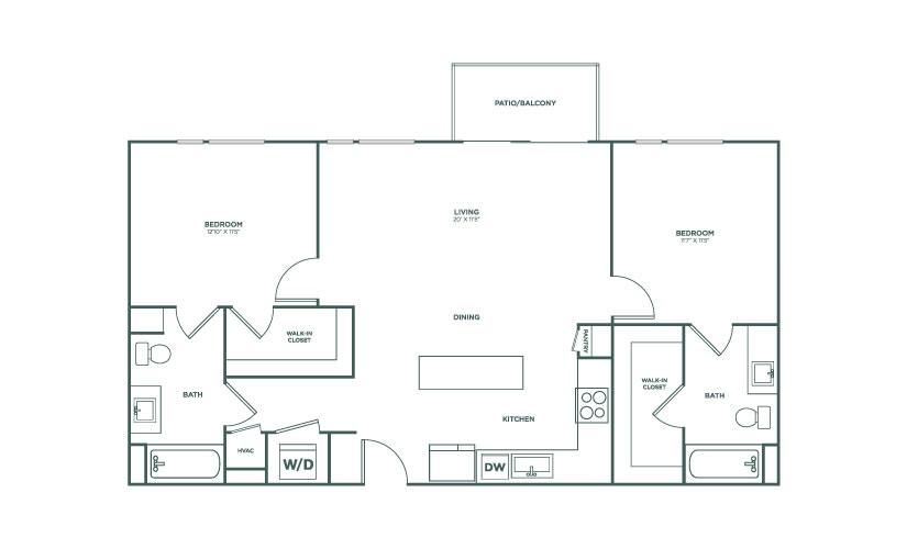 1,066 sq. ft. B3 floor plan