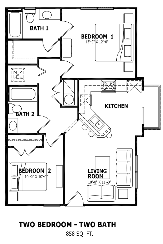 858 sq. ft. floor plan