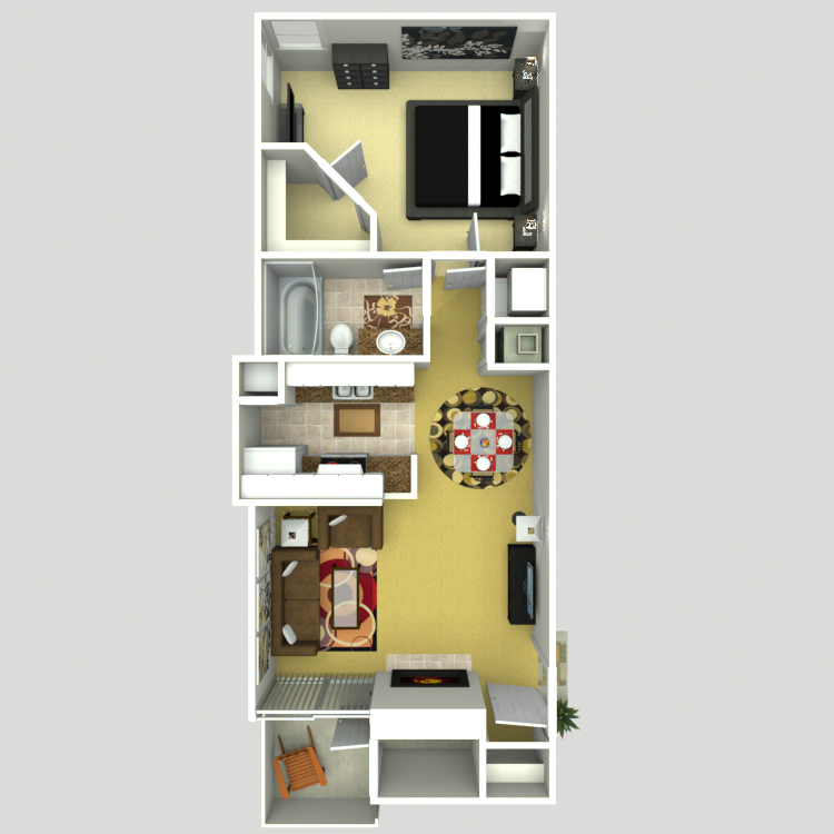 645 sq. ft. B floor plan